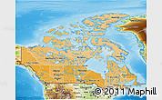 Political Shades 3D Map of Canada, physical outside