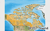 Political Shades 3D Map of Canada, satellite outside, bathymetry sea