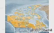 Political Shades 3D Map of Canada, semi-desaturated