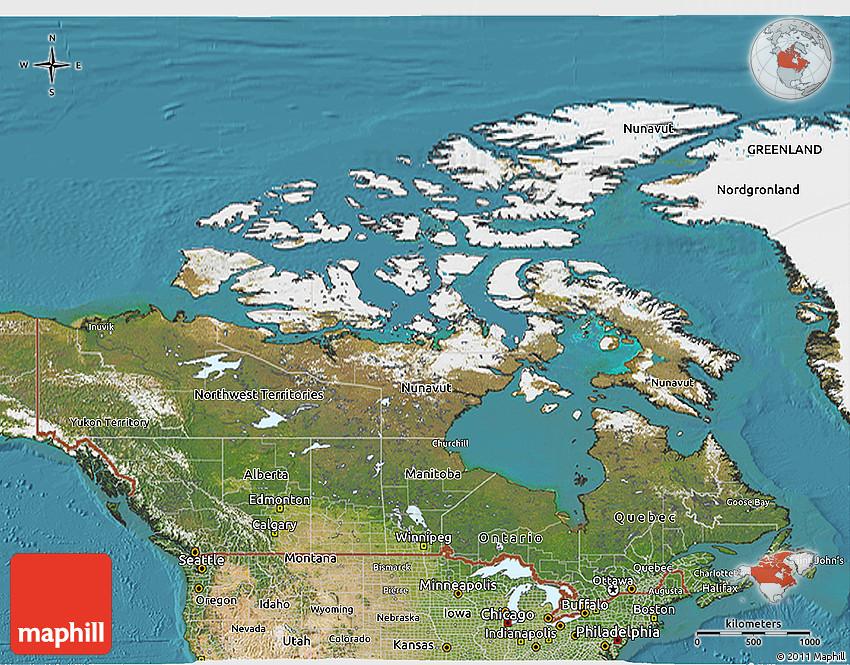 Satellite 3d Map Of Canada