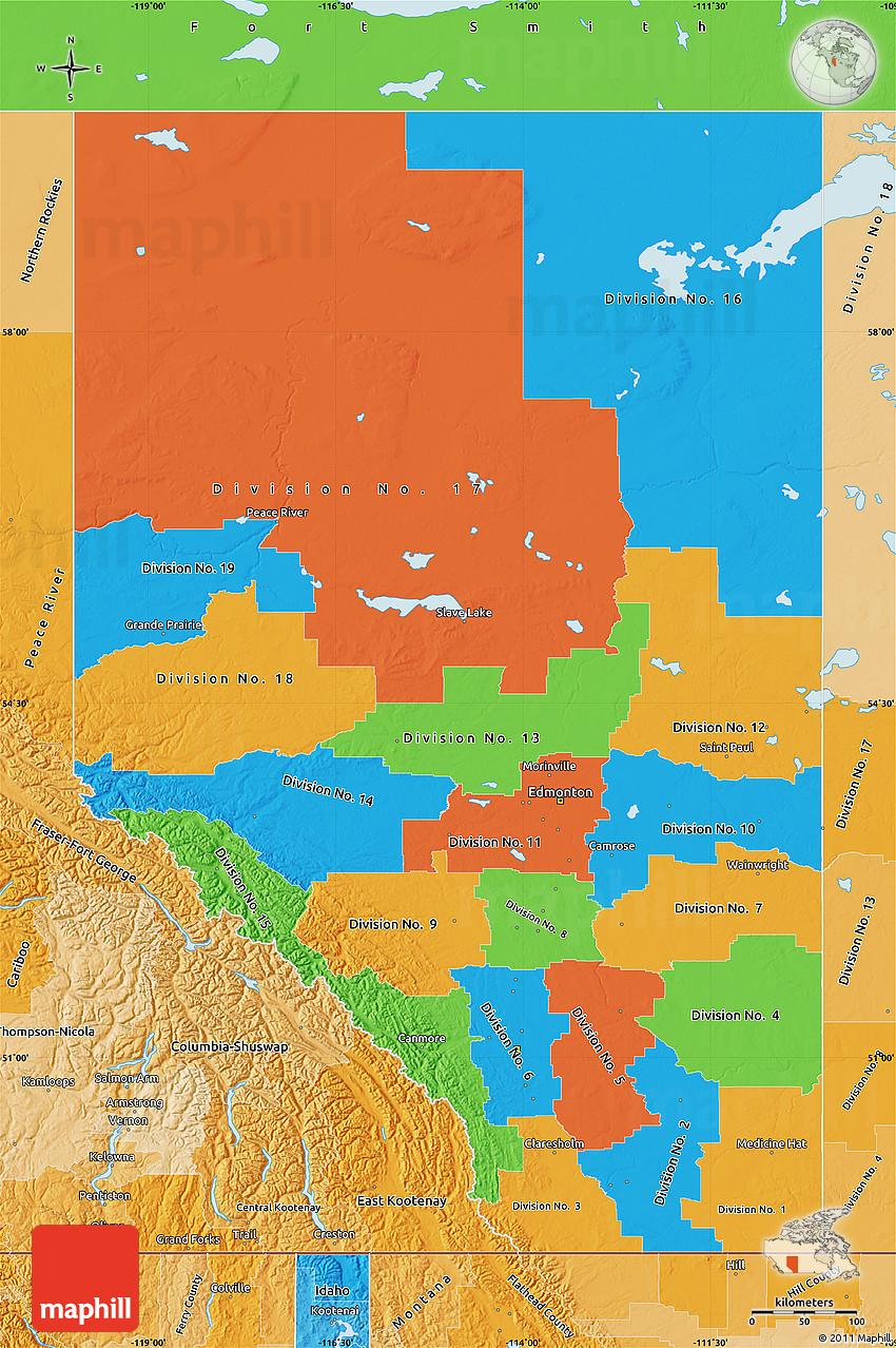 Alberta Canada Political Map Political Map of Alberta, political shades outside