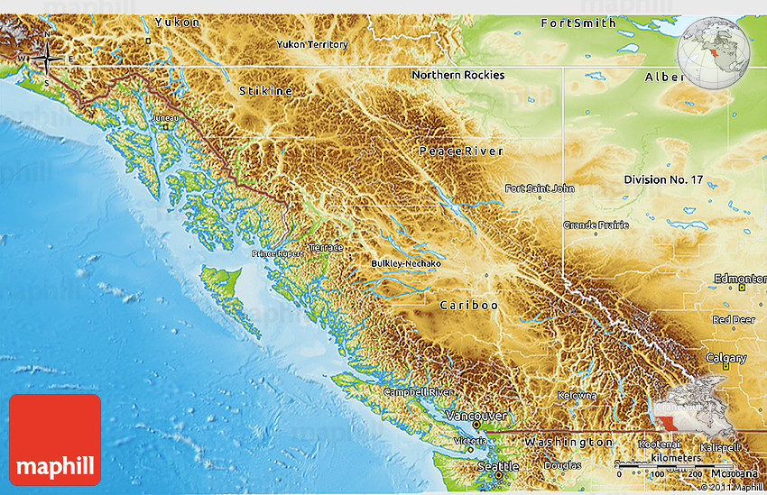 Physical D Map Of British Columbia - British columbia map