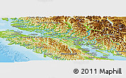 Physical Panoramic Map of Comox-Strathcona