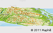 Physical Panoramic Map of Cowichan Valley