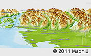 Physical Panoramic Map of Greater Vancouver