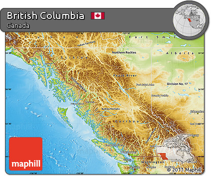 Free Physical Map of British Columbia