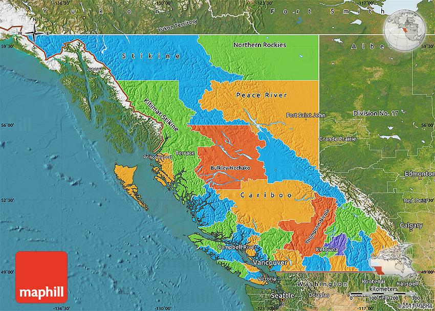 Political Map Of British Columbia Canada Political Map of British Columbia, satellite outside
