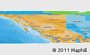 Political Shades Panoramic Map of British Columbia