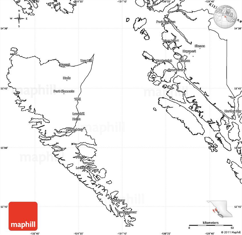 Blank Simple Map Of Skeenaqueen Charlotte: Blank Map Of British Columbia At Slyspyder.com