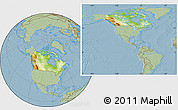 Physical Location Map of Canada, savanna style outside, hill shading