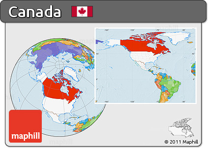 Free Political Location Map Of Canada Highlighted Continent - Canada map location