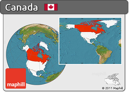 Free Satellite Location Map Of Canada Highlighted Continent - Canada location