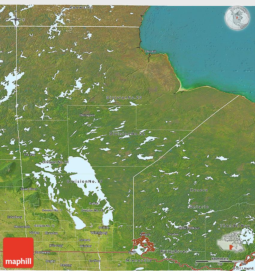 Satellite D Map Of Manitoba - Map of manitoba