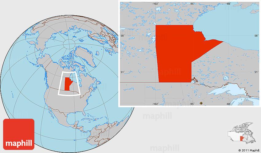 Gray Location Map of Manitoba