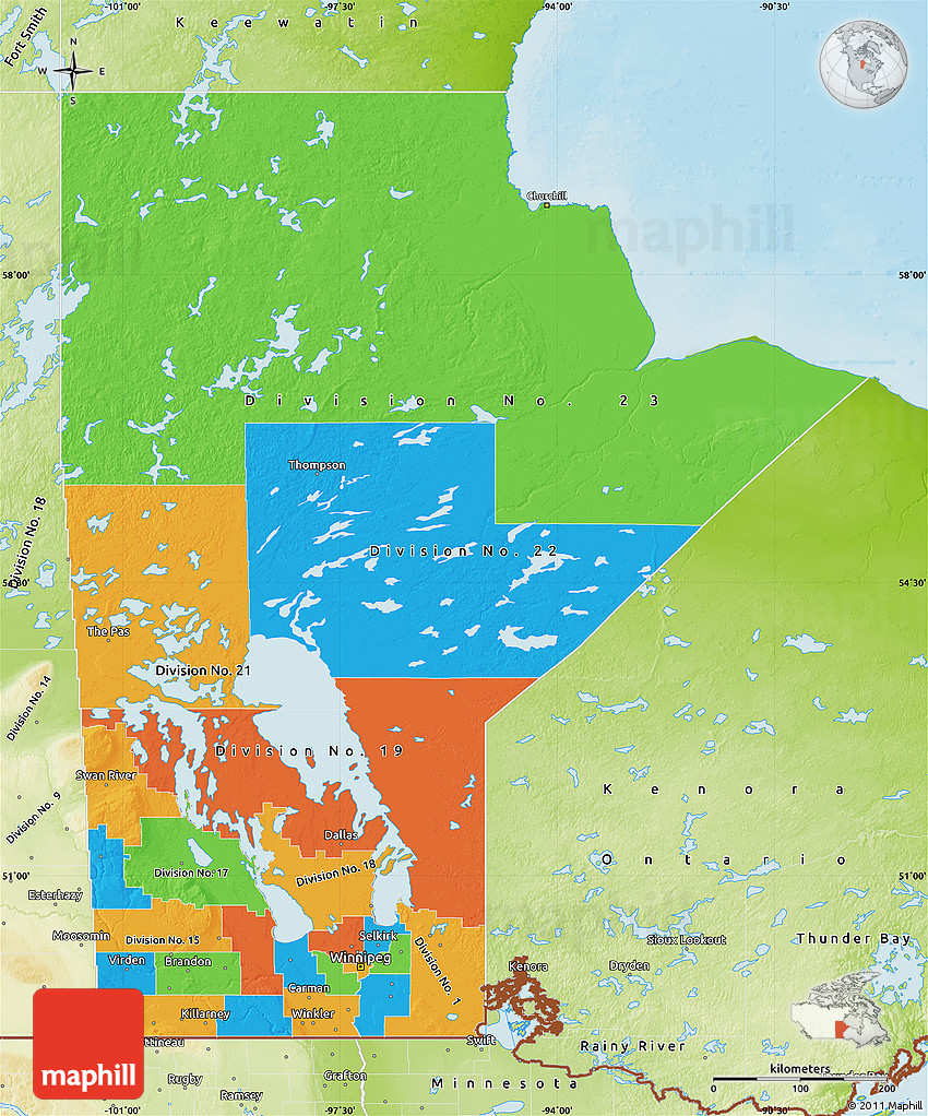 Manatoba Canada County Map Political Map of Manitoba, physical outside