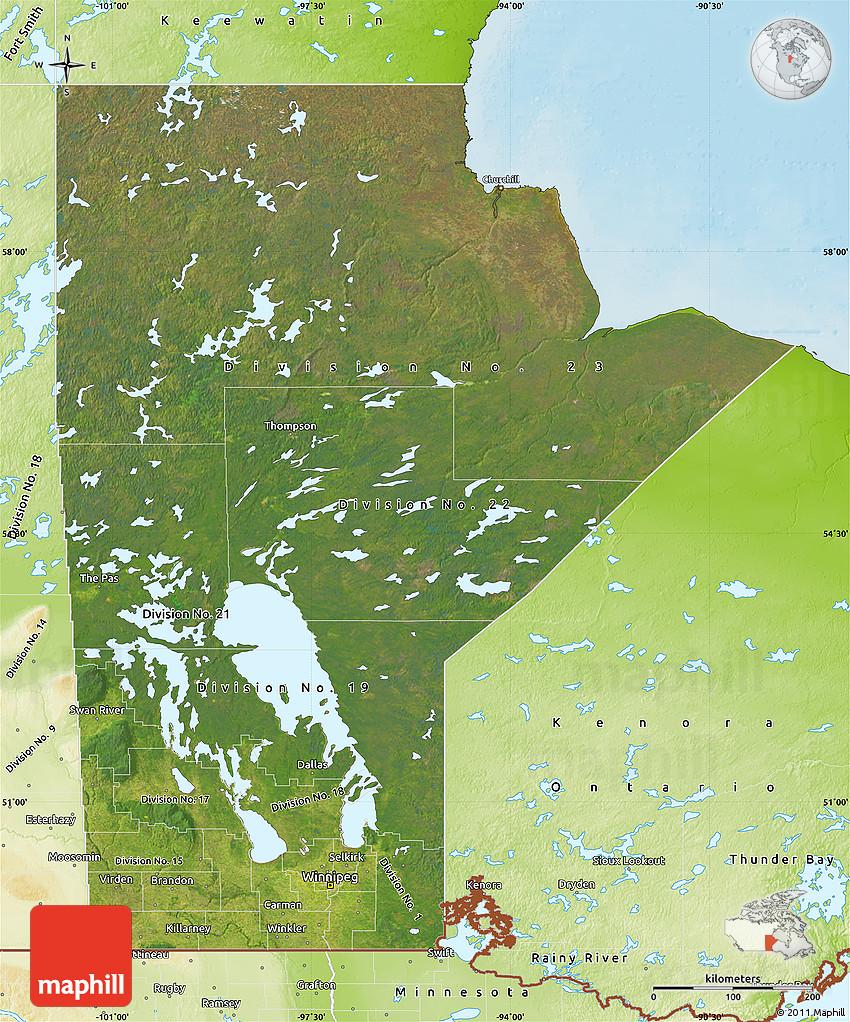 Satellite Map of Manitoba, physical outside