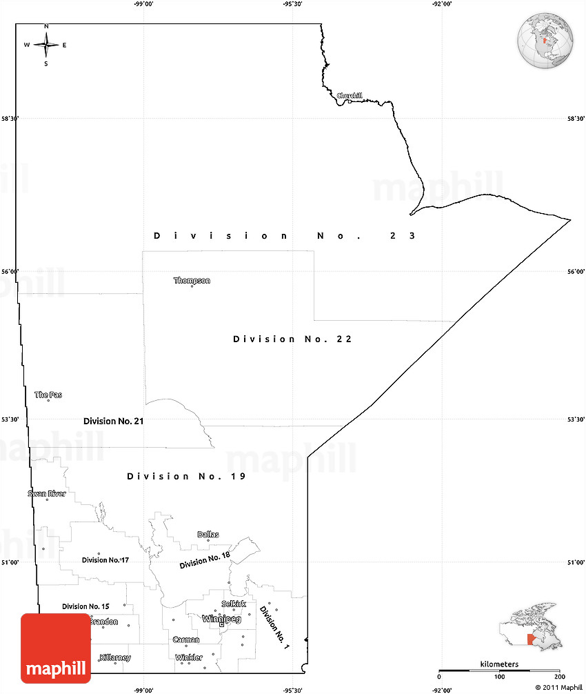 Blank Simple Map Of Manitoba Cropped Outside - Map of manitoba