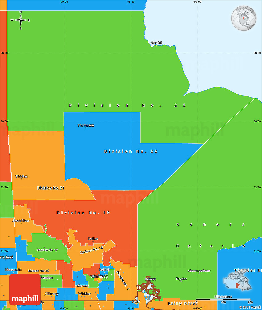Political Simple Map Of Manitoba - Map of manitoba