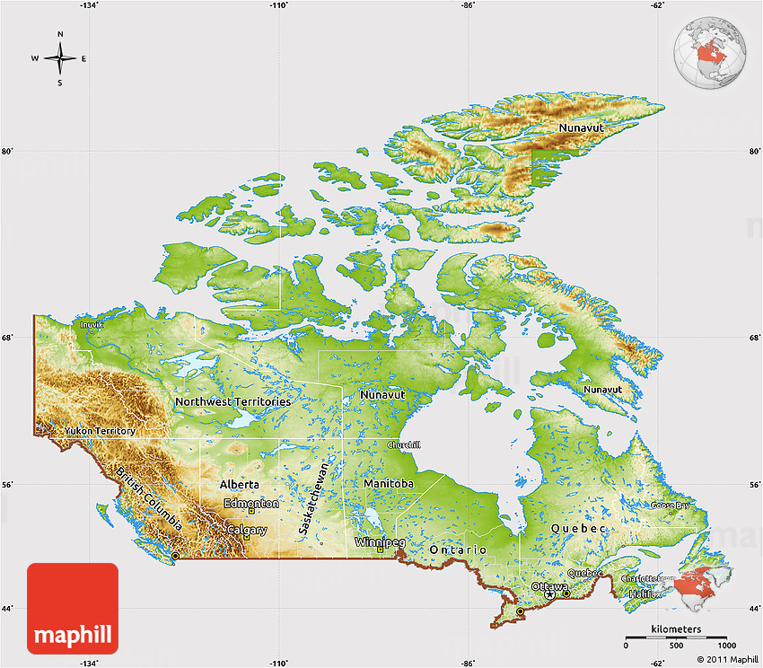 Physical Map Of Canada Cropped Outside - Physical map of canada