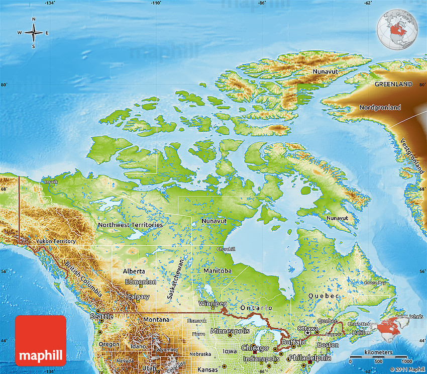 Physical Map Of Canada - Political and physical map of canada