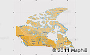 Political Shades Map of Canada, cropped outside
