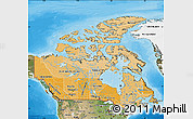 Political Shades Map of Canada, satellite outside, bathymetry sea