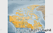 Political Shades Map of Canada, semi-desaturated