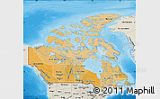 Political Shades Map of Canada, shaded relief outside, bathymetry sea