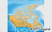 Political Shades Map of Canada, single color outside