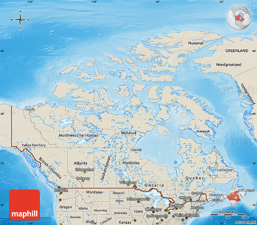 Shaded Relief Map Of Canada - Relief map of canada