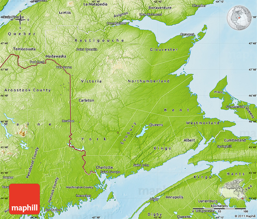 Map Of Canada New Brunswick.Physical Map Of New Brunswick