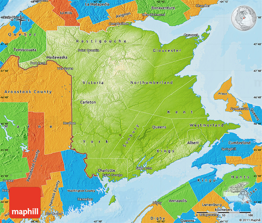 Physical Map of New Brunswick political outside