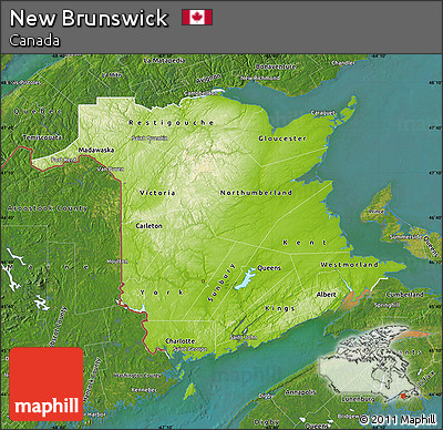 Free Physical Map of New Brunswick satellite outside