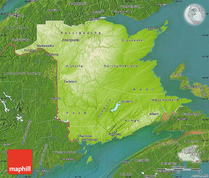 Physical Map Of New Brunswick Satellite Outside - Map of new brunswick