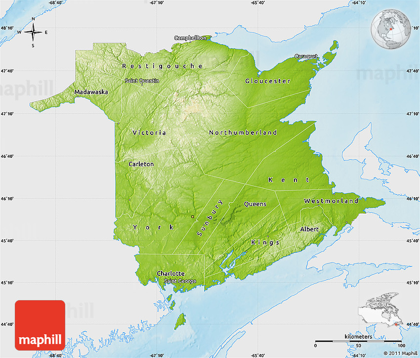 Physical Map of New Brunswick single color outside