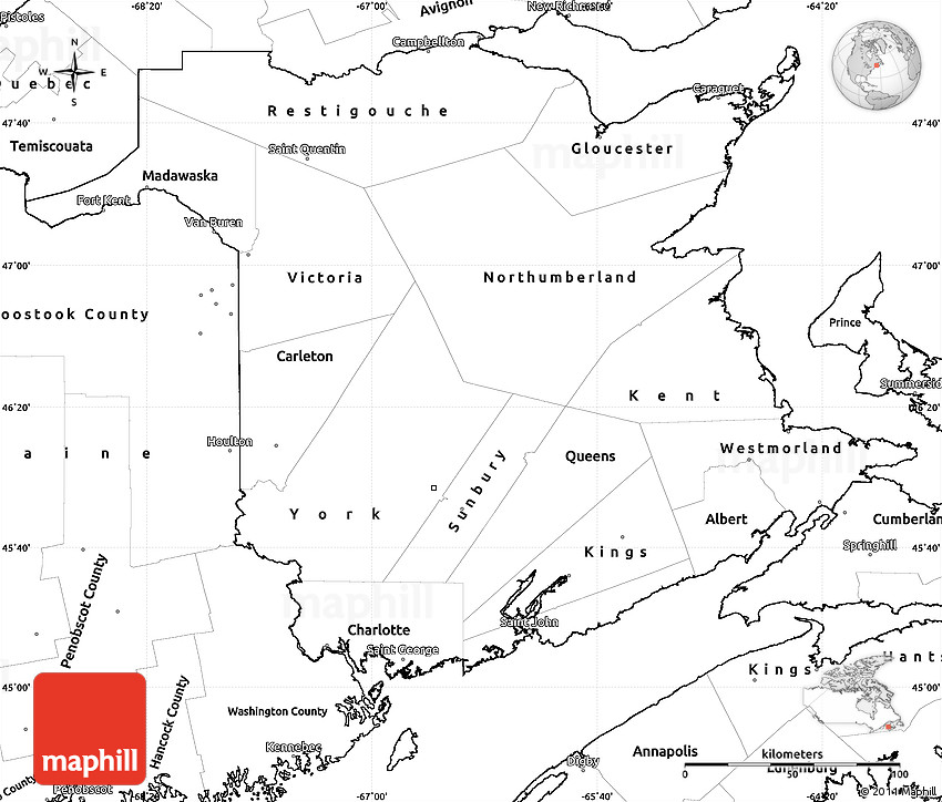 Blank Simple Map of New Brunswick