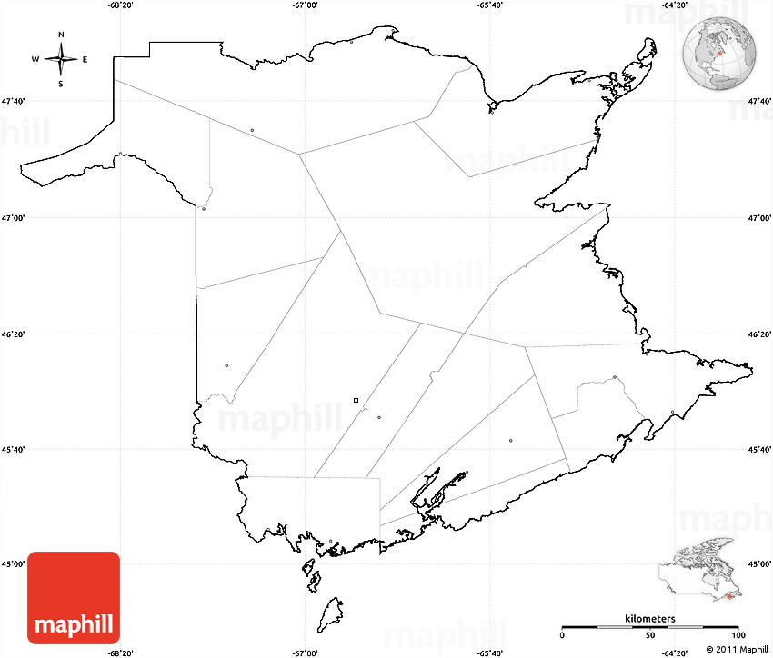 Blank Simple Map of New Brunswick cropped outside no labels