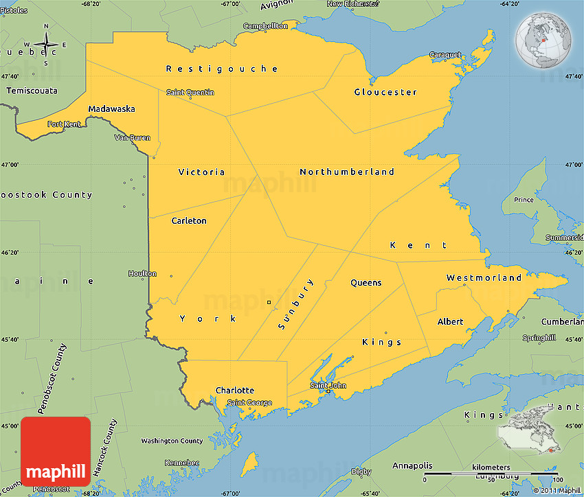 Savanna Style Simple Map of New Brunswick