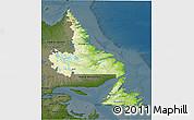Physical 3D Map of Newfoundland and Labrador, darken