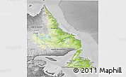 Physical 3D Map of Newfoundland and Labrador, desaturated
