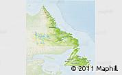 Physical 3D Map of Newfoundland and Labrador, lighten