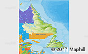 Physical 3D Map of Newfoundland and Labrador, political outside