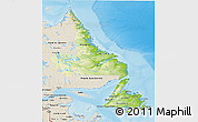 Physical 3D Map of Newfoundland and Labrador, shaded relief outside