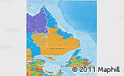 Political 3D Map of Newfoundland and Labrador