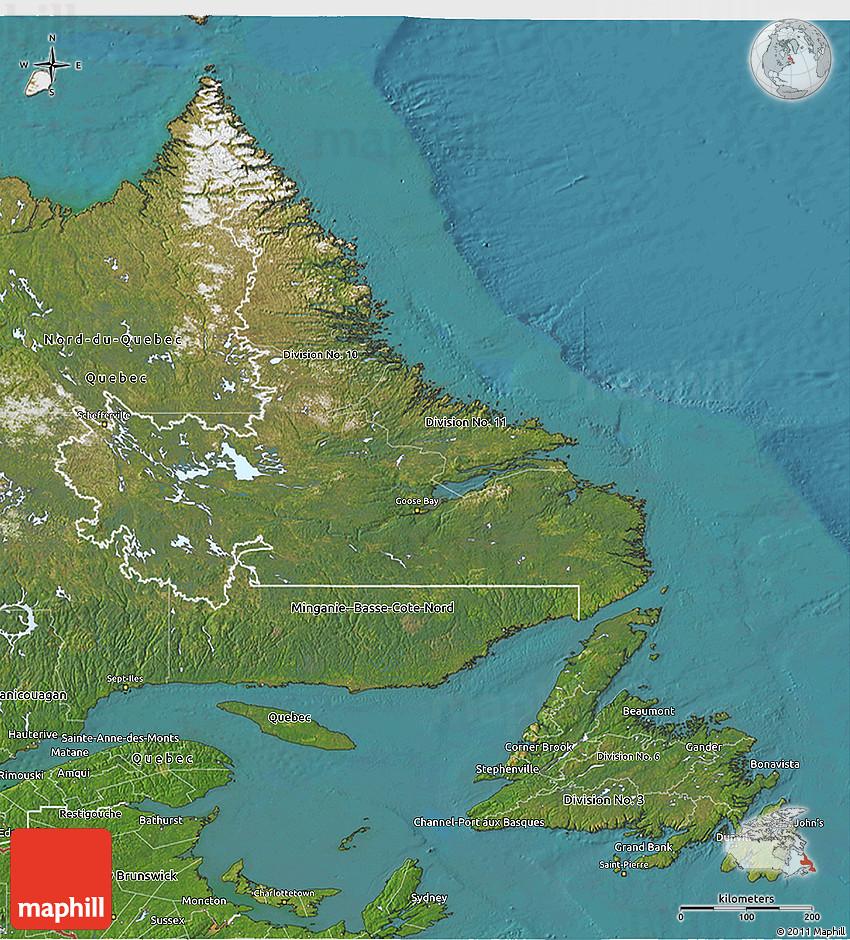 Satellite D Map Of Newfoundland And Labrador - Newfoundland and labrador map
