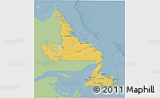 Savanna Style 3D Map of Newfoundland and Labrador, single color outside