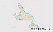 Shaded Relief 3D Map of Newfoundland and Labrador, cropped outside