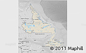 Shaded Relief 3D Map of Newfoundland and Labrador, desaturated