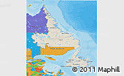 Shaded Relief 3D Map of Newfoundland and Labrador, political outside