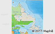 Shaded Relief 3D Map of Newfoundland and Labrador, political shades outside